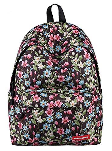Schultasche für Teenager Leichte beiläufige Daypack Leinwand Tupfen Leichte zufällige Rucksack Laptop-Tasche (Floral5) Floral3