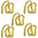 Boda del tono de oro brillantes del partido mullido navidad Decoración oropel Garland 5 PCS