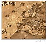 Wallario Herdabdeckplatte / Spitzschutz aus Glas, 1-teilig, 60x52cm, für Ceran- und Induktionsherde, Alte Weltkarte, Karte von Europa in englisch