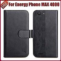 PREVOA Energy Sistem Max 4000 Funda - Flip PU Funda Case Protictive para Energy Sistem Max 4000 Smartphone - Negro -