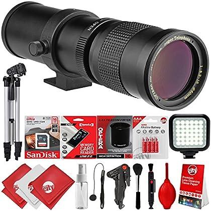Opteka 420-800 mm/840-1600 mm Super Telephoto Zoom Lente w/32GB - 15PC Bundle para Canon EOS 80D, 77D, 70D, 60D, 7D, 6D, 5D, 7D Mark II, T7i, T6s, T6i, T6, T5i, T5, SL1 & SL2 Cámaras réflex digitales