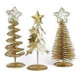 Ebuygb Mini Glitter Albero di Natale Ornamenti Set, polistirolo, Oro, 15.6x 12.4x 5.59cm
