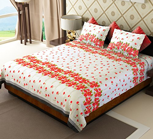 Home Candy 144 TC Floral Cotton Double Bedsheet with 2 Pillow Covers - Red