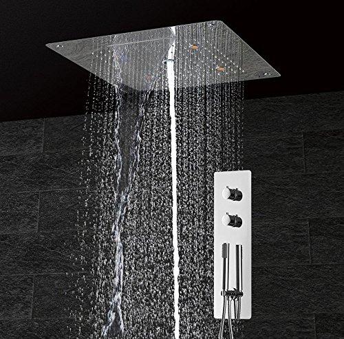 WEITING Badezimmer Dusche Set Zubehör-Hahn-Panel-Tap Thermostatbatterie LED-Deckenduschkopf Regenschwalldusche