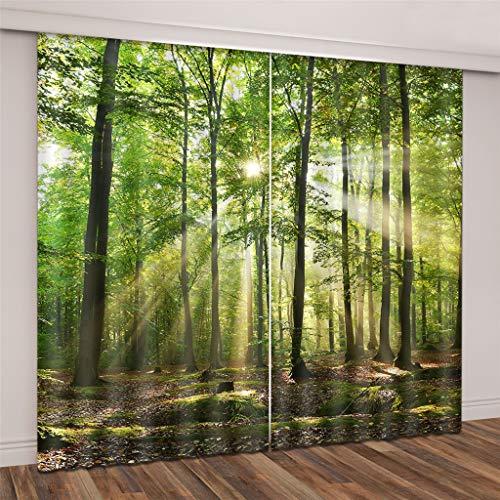 Lgxingliyidian tende super soft blackout bella luce solare penetra nel verde dei boschi 3d tessuto di seta nero isolamento termico tende ad occhiello 200 (h) x130cm (l) x2