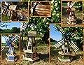WMH Windmühle, 2 x Balkon ZWEISTÖCKIG, windmühlen, SEHR ROBUST, MIT SOLARMODUL + 2 STRAHLER, Solarbeleuchtung DOPPEL-SOLAR LICHT WMH130-MS
