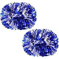 VOBAGA Juego de 2 Metallic Foil & Plastic Cheerleading Pom Poms Plata + Azul