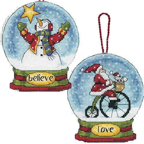 2Artikel Schneekugel Kreuzstich Kits Bundle: Believe Schneemann & Love Santa