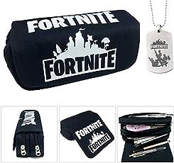 Fortnite Federmäppchen, große Kapazität Schreibwaren Bleistift Tasche Tasche Canvas Cosmetic Organizer mit zwei großen Taschen für Jungen, Mädchen, Teens, Erwachsene (1)