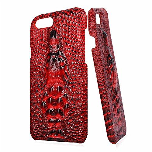 Bandmax Handy Hülle 3D Krokodilleder Schutzhülle Bumper Cover Hochweriges PU Leder Tasche Stoßfestes Kratzfest Case für iPhone 7 Plus(Schwarz) Rot