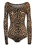 Islander Fashions Frauen Animal Print Langarm Scoop Neck Bodysuit Damen Stretchy Trikot Top Brown Leopard S/M EU 36-38