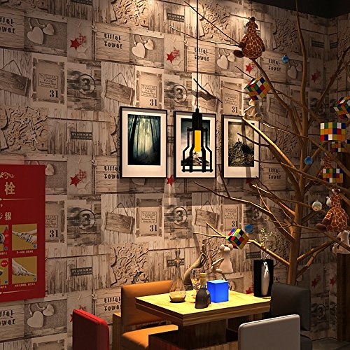 3D Wallpaper American Retro Holz Plank Tapete Mittelmeer Cafe Wand Wohnzimmer Poster Kaufen drei Get One Free ( Color : 59301 )