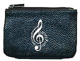 Petit Porte monnaie en cuir porte cles noir Note de musique Cle de Sol