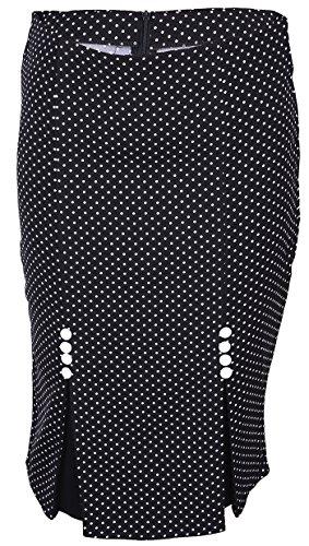 Küstenluder Damen Rock Terisa Punkte Pencil Skirt Mehrfarbig 2XL (Vorne Pencil-skirt Reißverschluss)