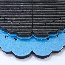 Mondaplen FootWave Set: 2 tappetini dopo sport con effetto massaggiante studiati per proteggere i tuoi piedi da germi e funghi in ambienti come palestra, piscina e spogliatoio. Poggiapiedi grande: 33 x 38 cm, piccolo: 30 x 34 cm. Nero/Azzurro