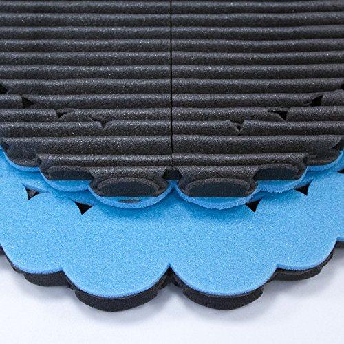 Set Mondaplen FootWave: un par de alfombras de baño y ducha para después del deporte que protegen los pies contra gérmenes y hongos en el gimnasio, la piscina o la sauna. Alfombra grande: 33 x 38 cm, pequeña: 30 x 34 cm. Se incluye una bolsa de plástico con cierre. Azul/Negro