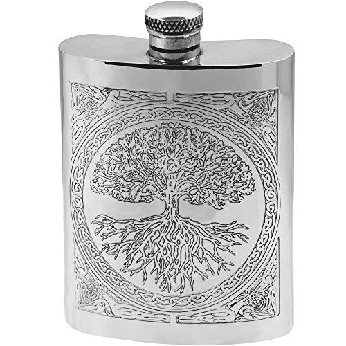 English Pewter Company Flachmann aus Zinn, mit keltischem Design ?Baum des Lebens?