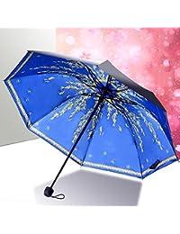 MIAO Paraguas Tres Secciones Dobladas Ultra-Light Patrón Anti-UV Impermeable Soleado y Lluvia