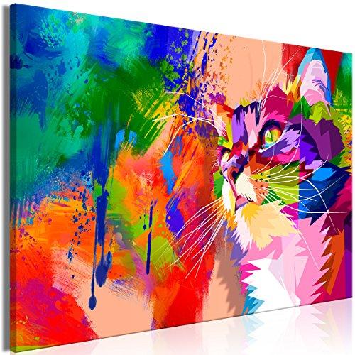 decomonkey Bilder Katze Abstrakt 90x60 cm 1 Teilig Leinwandbilder Bild auf Leinwand Wandbild Kunstdruck Wanddeko Wand Wohnzimmer Wanddekoration Deko Bunt Rosa Orange Blau Grün