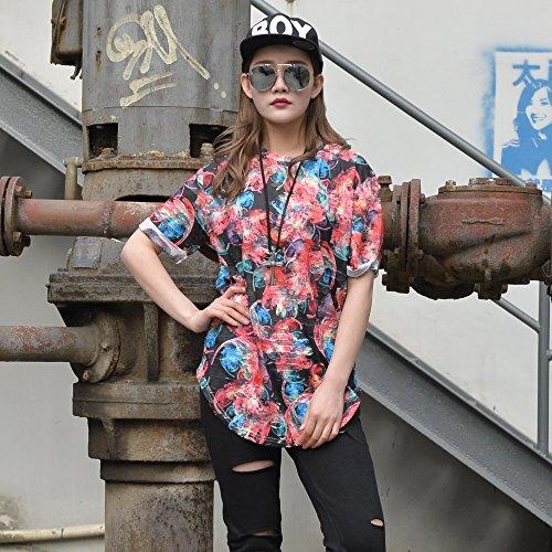 Pizoff Unisex Hip Hop Design langes T Shirts im Distressed-Look Y1727-11