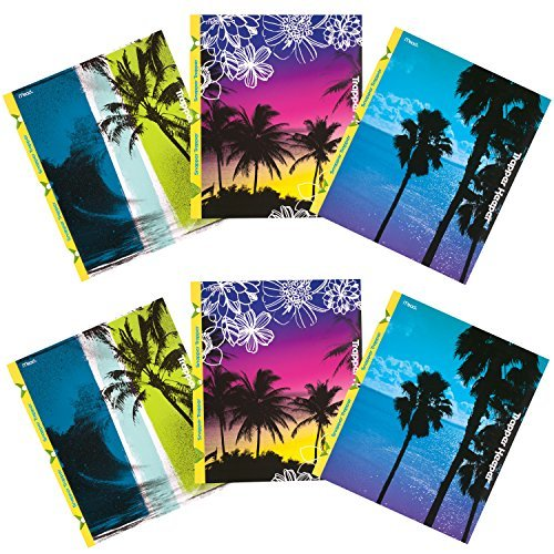 mead-trapper-keeper-snapper-trapper-2-pocket-folders-fun-in-the-sun-assorted-designs-6-pack-73431-by
