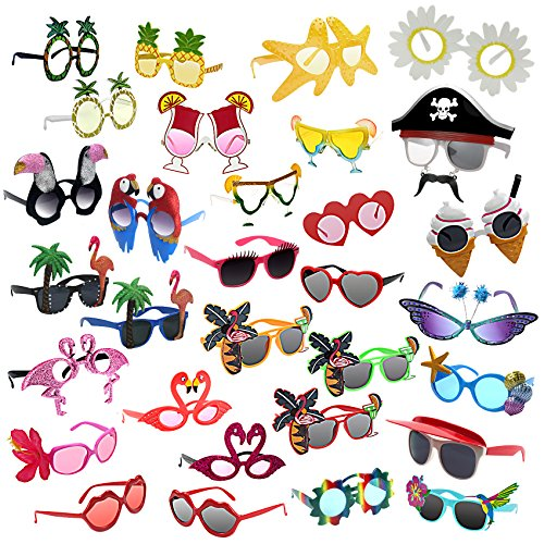 Muskykrafties Requisiten für den Fotoautomaten, Tropical Party 31-bulk-pack Sunglasses, 31-Bundle