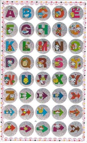 10 fumetto sveglio lettere dell'alfabeto e Arrow Adesivi glitterati (400 etichette)