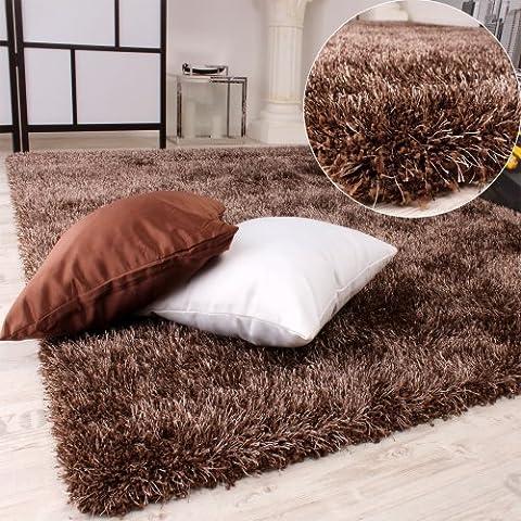 PHC Shaggy - Alfombra de pelo grueso, color marrón