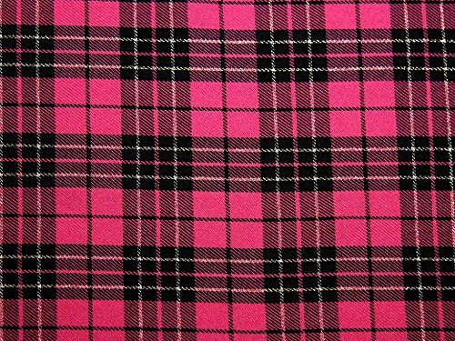 Lurex Poly Viskose Tartan passend Kleid Stoff pink–Meterware (Kleid Pink Tartan)