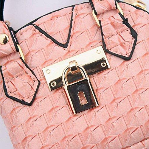 2pcs donne ragazze mini carino in pelle borsa della moneta sacchetto della moneta sacchetto sacchetto di immagazzinaggio chiave (motivo pied de poule) Rosa