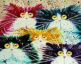 Abstrakte Malerei Katze Tiere DIY Malen nach Zahlen handbemalt Ölgemälde, canvas, Cat Animals, Unframed
