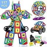 COOLJOY Magnetische Bausteine, 117 Stück Magnet Baustein, Pädagogische Bauklötze Spielzeug für Kinder, 3D Grafiken Konstruktion Blöcke / Auto Spielzeug / Roboter / Animal / Ferris Wheel