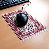 Orient&Ornament Mousepad im Orientteppich Design - Widerstandsfähiger, origineller und authentischer Miniaturteppich als Computer Zubehör für den Schreibtisch aus Textilgewebe in rot