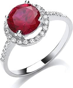 Jewelco Europa Anello da donna con solitario a forma di alone in argento placcato rodio rosa rosso rotondo con zirconi
