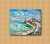 Zeitgenössische zeitgenössische dekorative Leinwandrahmen, Wohnzimmer, abstrakte und originelle Gemälde wie die Impressionisten, handgemacht mit Öl auf Leinwand Puliafico - CASTELLO E GOLFO 50x60cm