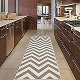 Diagona Designs modernes Chevron Design Rutschfest Küche/Badezimmer/Flur Bereich Teppich Läufer, 78,7cm W x 299,7cm L, elfenbeinfarben/grau