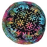 Pouf de sol rond Coton Mandala Motif éléphant Tye - Teinture rond Pom Pom Tapisserie ronde Pouf, hippie Taille 32 x 32 Couvre-lit décoratif Boho Bohemian Mandala de sol rond Pouf