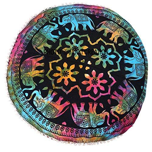 Puf redondo suelo algodón Mandala Elefante Diseño Tye - Dye redondo Pom Pom redondo puf infantil, de tapiz hippie hippy tamaño 32 x 32 manta decoración Boho Bohemio