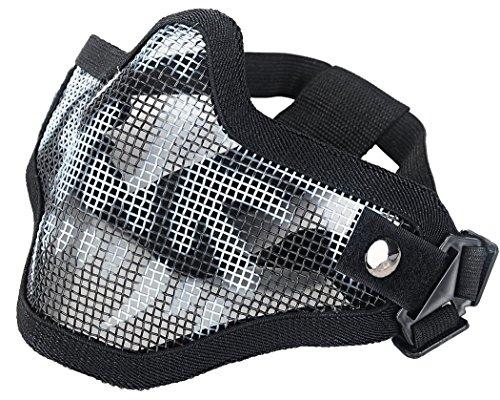 Rete in Acciaio Tattico Maschera mezzo teschio Maschera Protettiva Per Softair Maschera di Halloween, Black&White