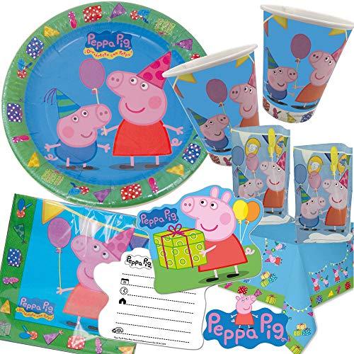 105-teiliges Party-Set * Peppa Pig * für Kindergeburtstag mit 6-8 Kindern: Teller, Becher, Servietten, Einladungen, Partytüten, Tischdecke, Luftschlangen, Ballons, UVM. | Wutz Deko Kinder Geburtstag
