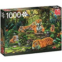 Jumbo Premium Puzzle Collection 'Tiger Family At The waterhole' 1,000 Piece Jigsaw Puzzle