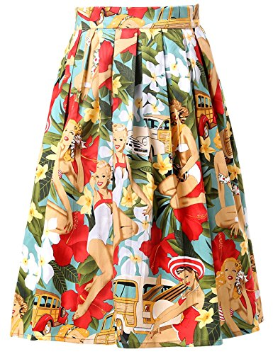Tanz Kostüm Style Latin - Damen Rockabilly Rock a Linie Vintage Retro Rock Swing röcke CL6294-7 L