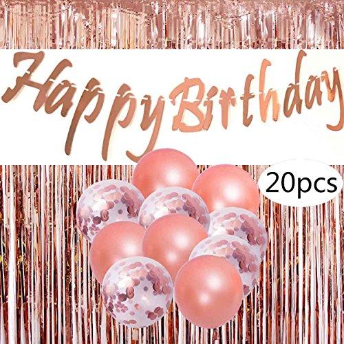 Cebelle Decorazioni per Feste di Compleanno Oro Rosa, Articoli per Feste Scintillanti Decorazioni per striscioni Compleanno, 20 Palloncini di coriandoli, 3,3 x 6,6 ft Lamina Frangia Tende Foto Sfondo