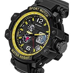 QBD digital-analog Gents Oversize geschoben Digitale Sport-Armbanduhr mit Alarm Stoppuhr Chronograph-50m Wasserdicht-Kostenlose Luxus Geschenk-Box (S Gelb)