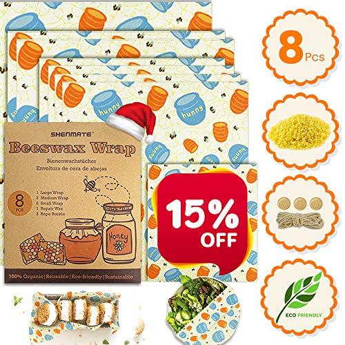SHENMATE Envoltorio Cera De Abeja, Beeswax Wrap Natural, Envoltorio bocadillo Reutilizable, Papel De Cera De Abeja, Envoltorios de Alimentos Lavables para Quesos, Frutas, Vegetales