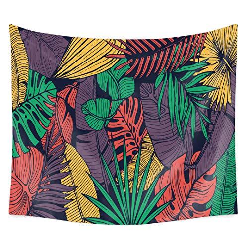 QuanCheng Kopfteil mit tropischen Pflanzen, Landschaft, Wanddekoration, Mehrfarbig 58Wx78L Green Leaf (Tropische Zimmer Dekor)