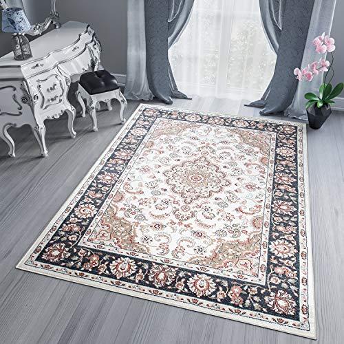 Tapiso Dubai Teppich Klassisch Orientalisch Kurzflorn Ecru Schwarz Beige Floral Ornament Muster Designer Wohnzimmer ÖKOTEX 60 x 100 cm -