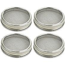 BESTOMZ Coperchio per germinazione in acciaio inox per vaso tondo (Argento) - 4 Pezzi