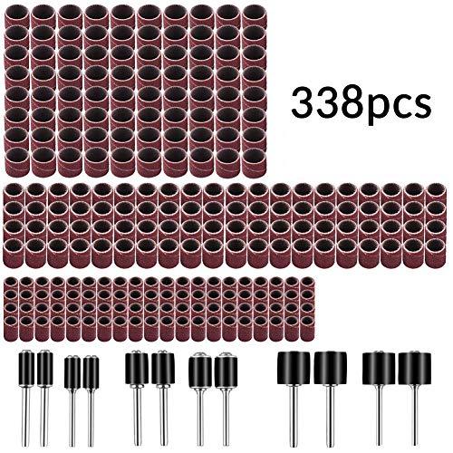 """338 piezas Kit de tambor de lija con caja libre para Dremel incluye mandriles de goma para tambor - 1/2, 3/8 y 1/4"""" #21-MST"""