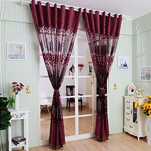 Youpin de luxe haut de gamme Jacquard Fils 1mx2.5m Voile Rideaux Rideaux Tulle pour la porte Décor fenêtre (Violet)